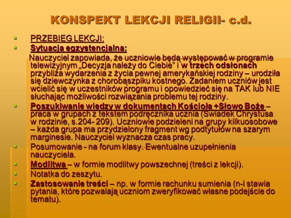 KONSPEKT LEKCJI RELIGII- c.d.