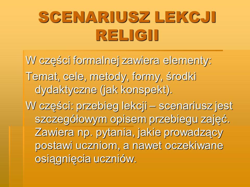 SCENARIUSZ LEKCJI RELIGII