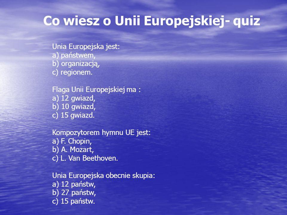 Co wiesz o Unii Europejskiej- quiz