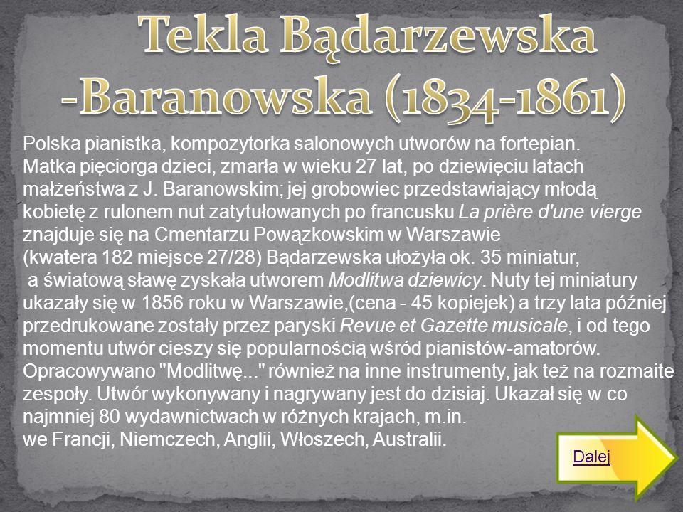 Tekla Bądarzewska -Baranowska (1834-1861)
