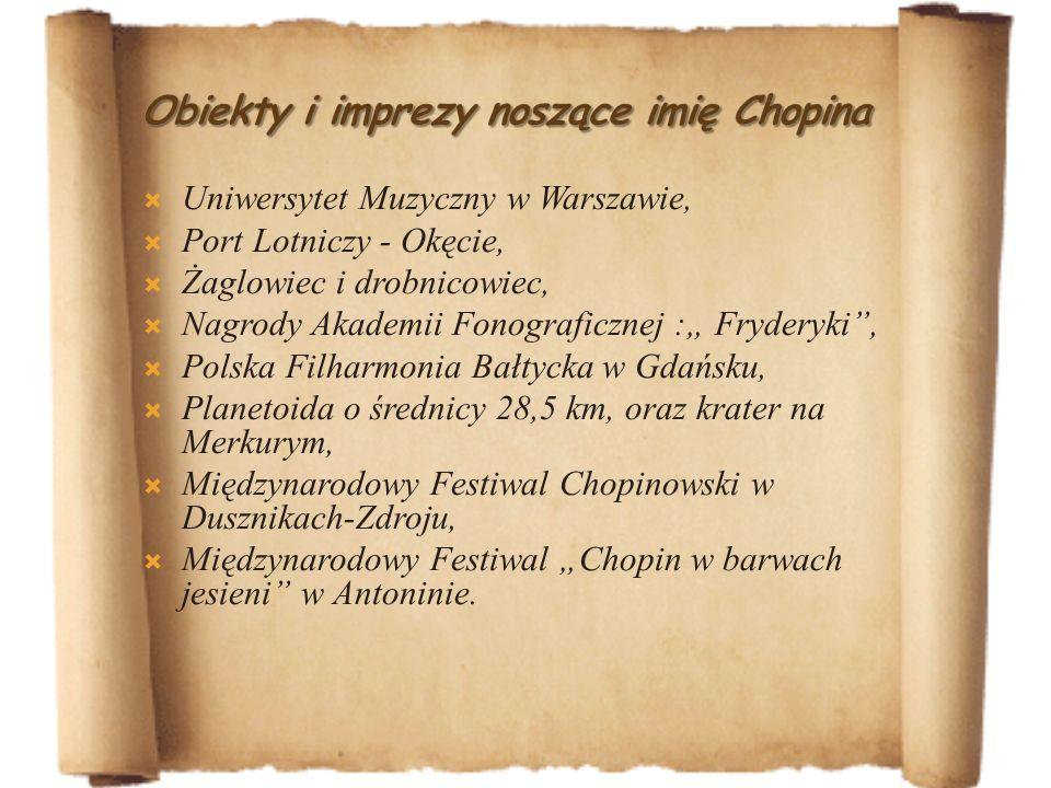 Obiekty i imprezy noszące imię Chopina
