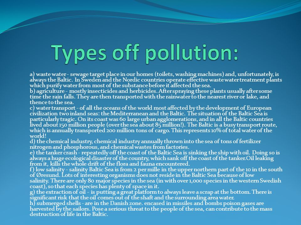 Types off pollution: