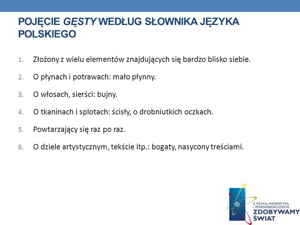 Pojęcie gęsty według słownika języka polskiego