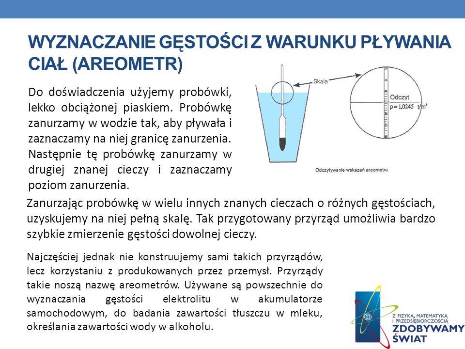 wyznaczanie gęstości z warunku pływania ciał (areometr)