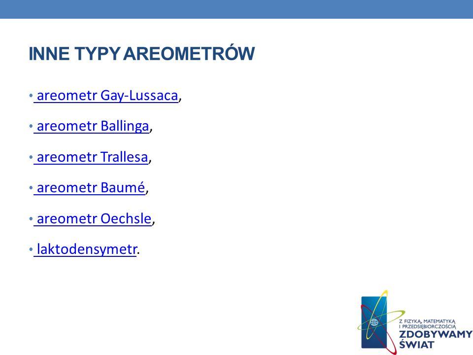Inne typy areometrów areometr Gay-Lussaca, areometr Ballinga,