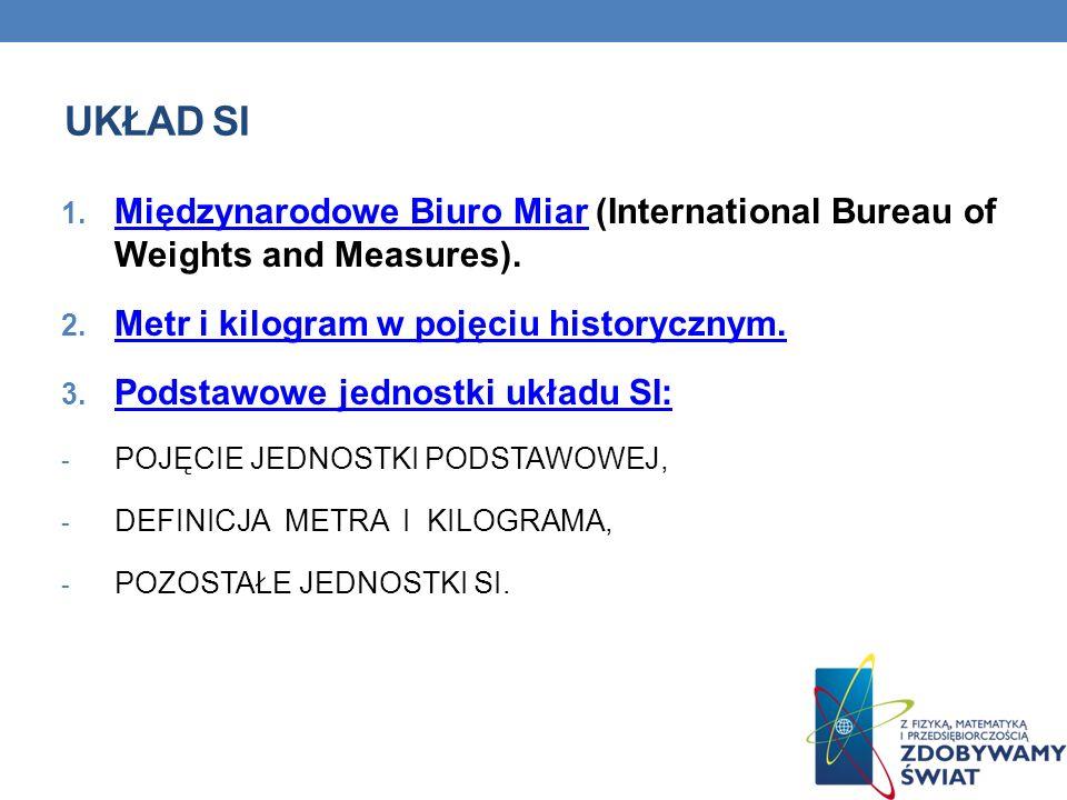 UKŁAD SI Międzynarodowe Biuro Miar (International Bureau of Weights and Measures). Metr i kilogram w pojęciu historycznym.