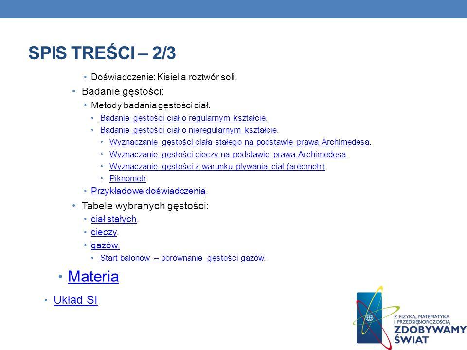 Spis treści – 2/3 Materia Układ SI Badanie gęstości: