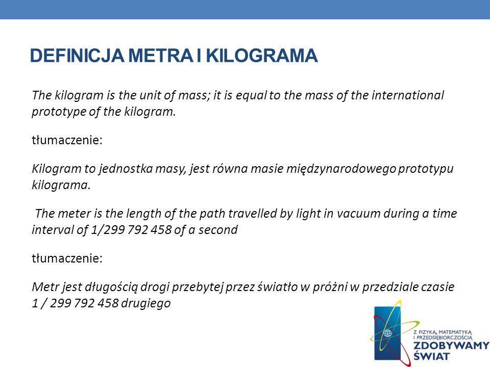 Definicja metra i kilograma