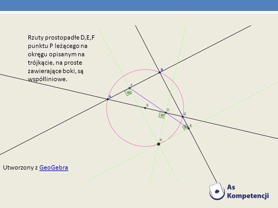 Rzuty prostopadłe D,E,F punktu P leżącego na okręgu opisanym na trójkącie, na proste zawierające boki, są współliniowe.
