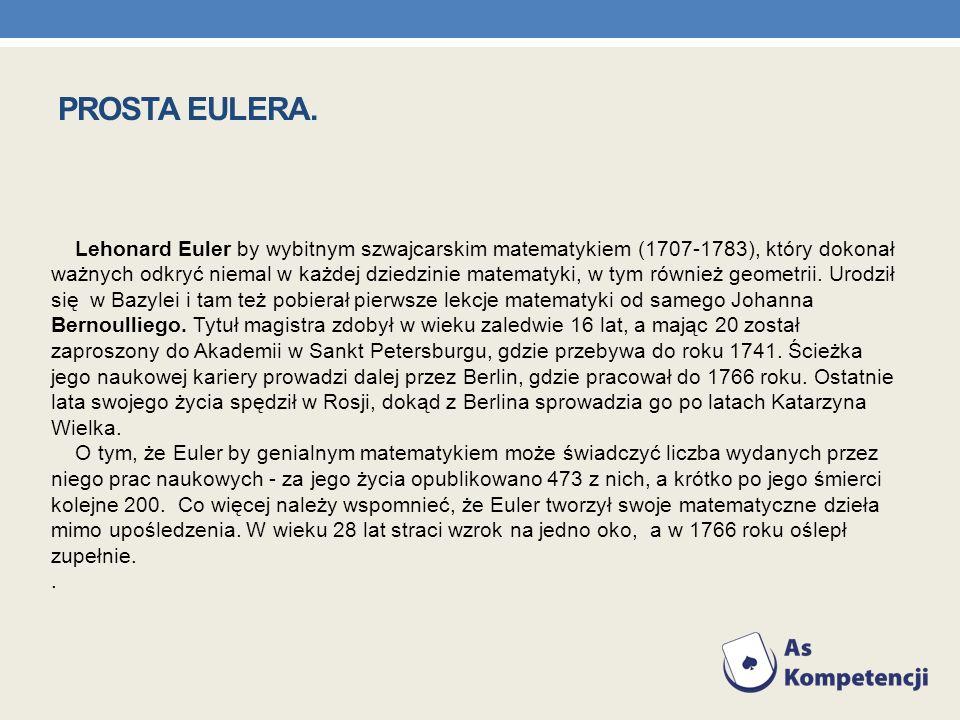 PROSTA EULERA. Lehonard Euler by wybitnym szwajcarskim matematykiem (1707-1783), który dokonał.