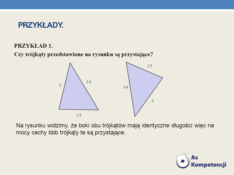 PRZYKŁADY. PRZYKŁAD 1. Czy trójkąty przedstawione na rysunku są przystające