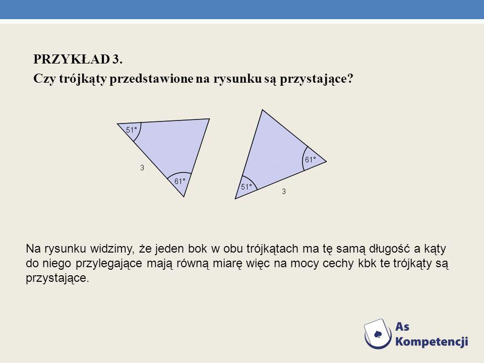 Czy trójkąty przedstawione na rysunku są przystające