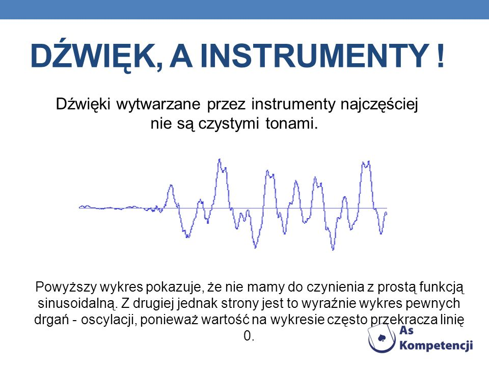 Dźwięk, a instrumenty ! Dźwięki wytwarzane przez instrumenty najczęściej nie są czystymi tonami.
