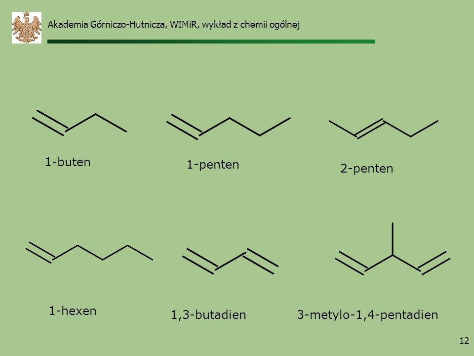1-buten 1-penten 2-penten 1-hexen 1,3-butadien 3-metylo-1,4-pentadien