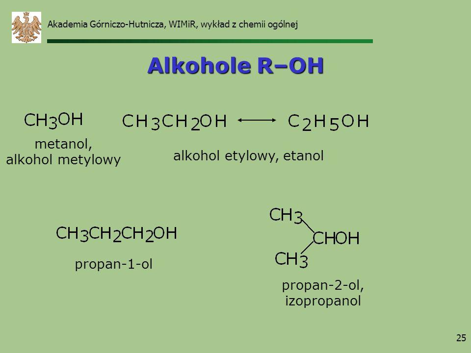 Alkohole R–OH metanol, alkohol metylowy alkohol etylowy, etanol