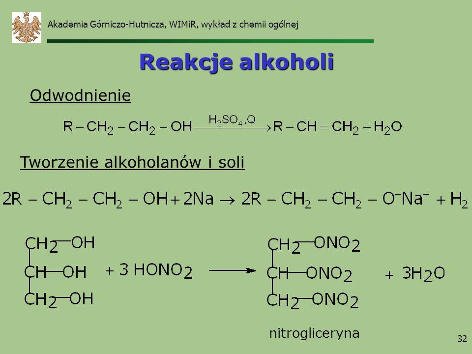 Reakcje alkoholi Odwodnienie Tworzenie alkoholanów i soli