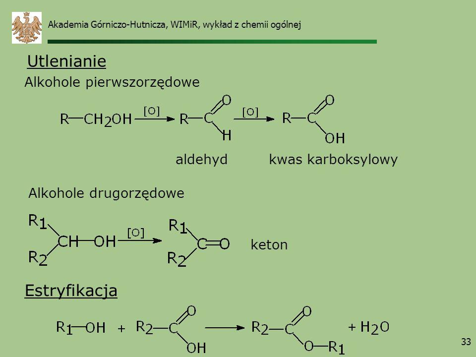 Utlenianie Estryfikacja Alkohole pierwszorzędowe aldehyd