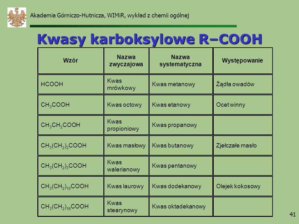 Kwasy karboksylowe R–COOH