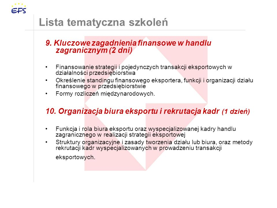 Lista tematyczna szkoleń