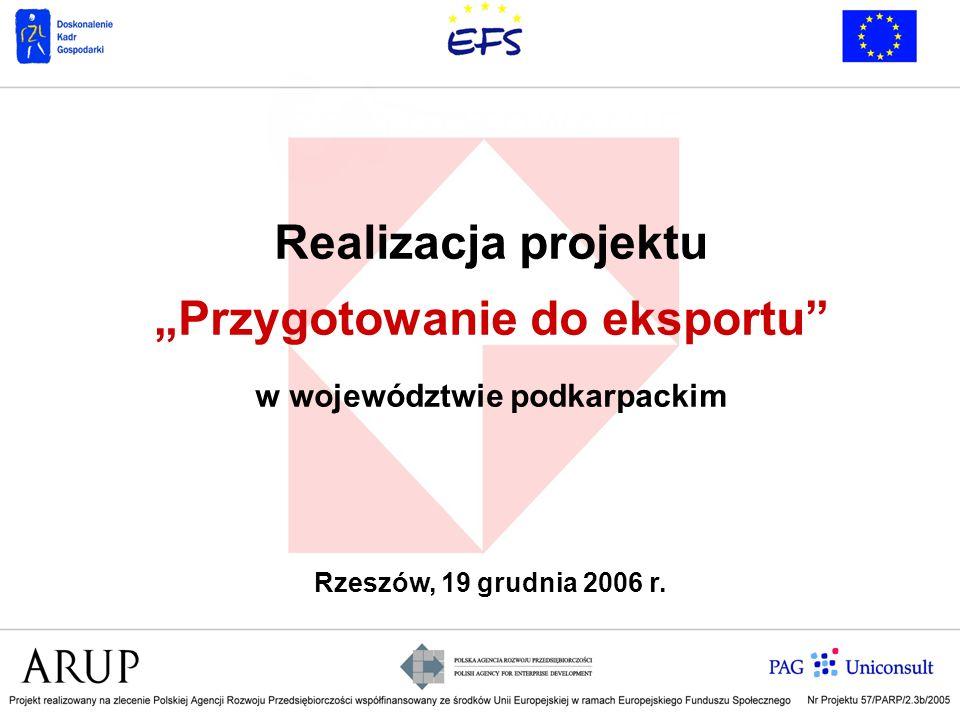 """Realizacja projektu """"Przygotowanie do eksportu w województwie podkarpackim"""