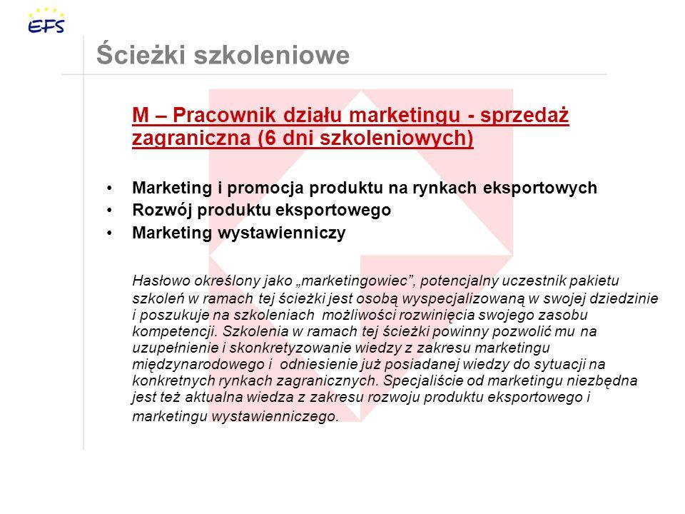 Ścieżki szkoleniowe M – Pracownik działu marketingu - sprzedaż zagraniczna (6 dni szkoleniowych)