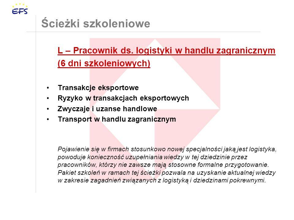 Ścieżki szkoleniowe L – Pracownik ds. logistyki w handlu zagranicznym