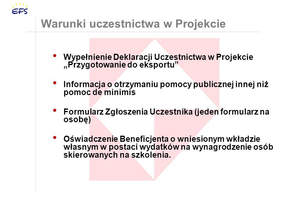 Warunki uczestnictwa w Projekcie