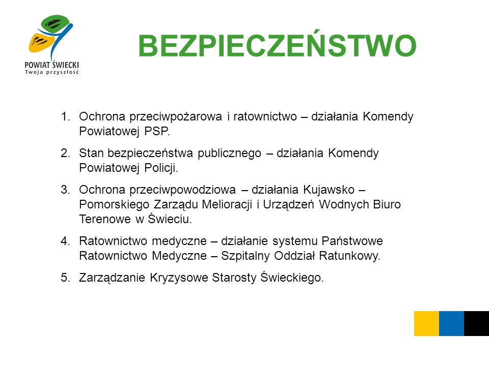 BEZPIECZEŃSTWO Ochrona przeciwpożarowa i ratownictwo – działania Komendy Powiatowej PSP.