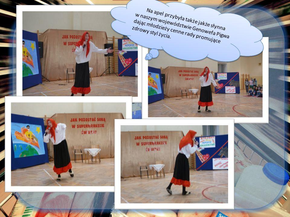 Na apel przybyła także jakże słynna w naszym województwie Genowefa Pigwa dając młodzieży cenne rady promujące zdrowy styl życia.