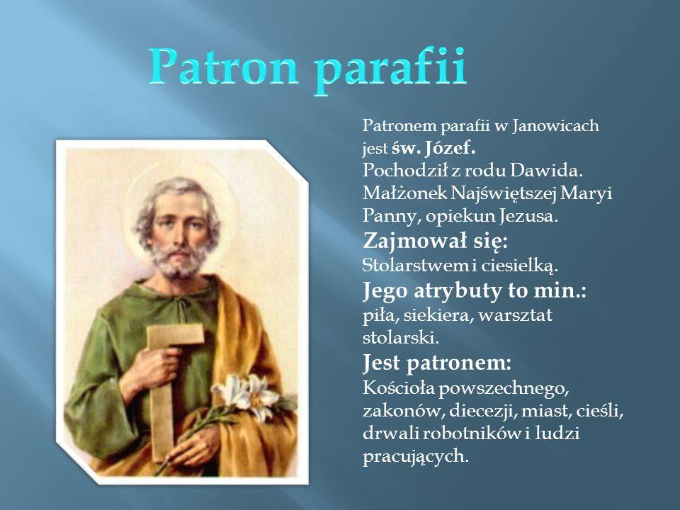 Patron parafii Jego atrybuty to min.: Jest patronem: