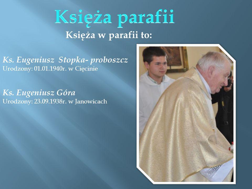 Księża parafii Księża w parafii to: Ks. Eugeniusz Stopka- proboszcz