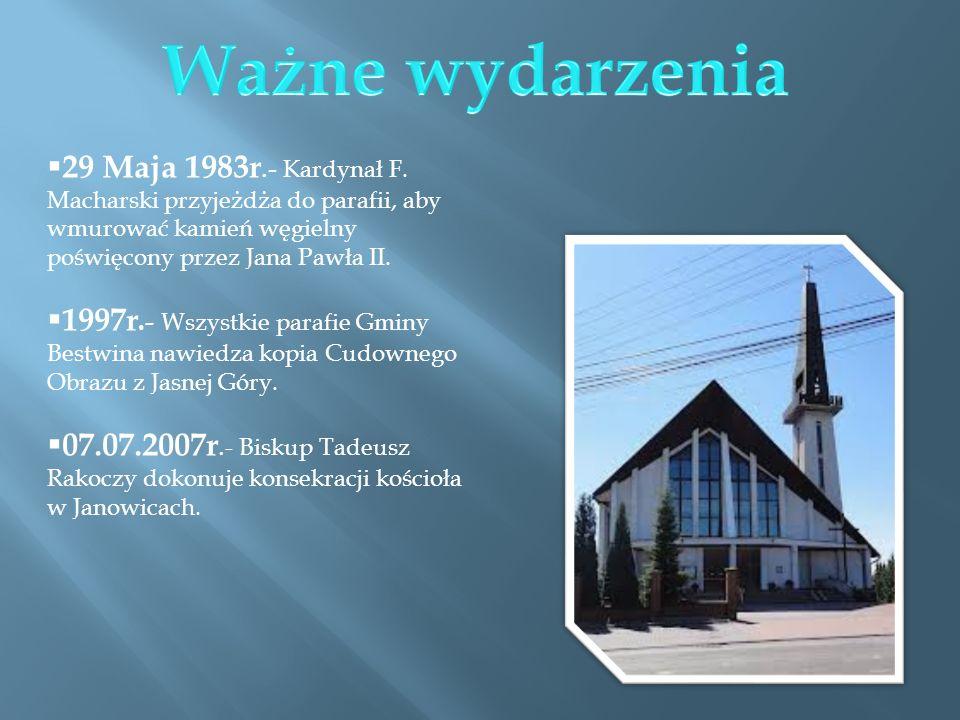 Ważne wydarzenia 29 Maja 1983r.- Kardynał F. Macharski przyjeżdża do parafii, aby wmurować kamień węgielny poświęcony przez Jana Pawła II.