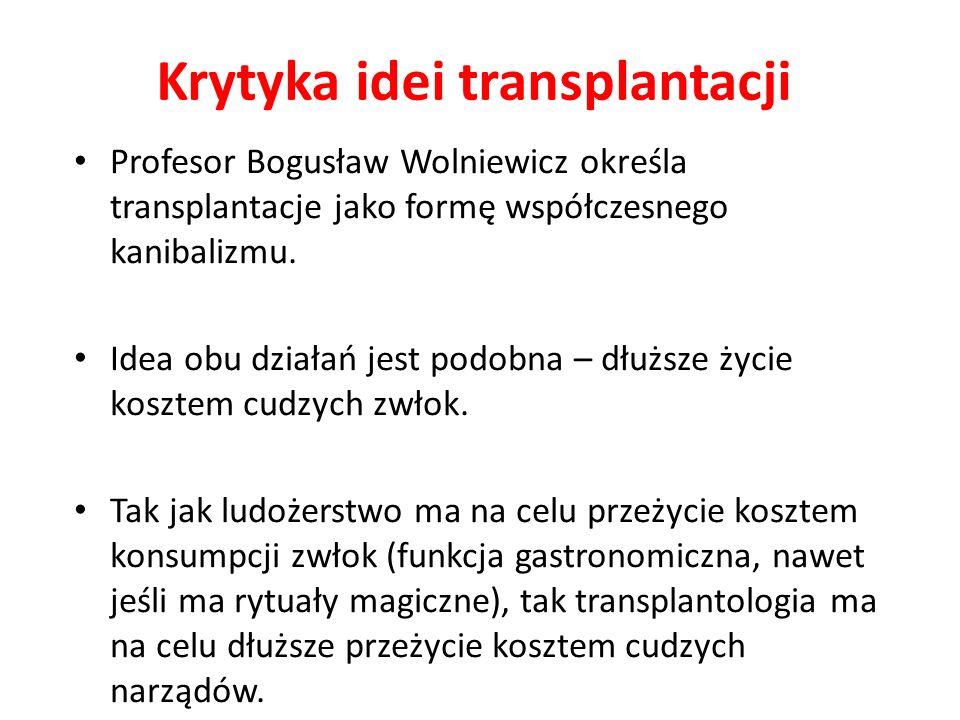Krytyka idei transplantacji