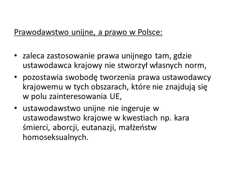 Prawodawstwo unijne, a prawo w Polsce:
