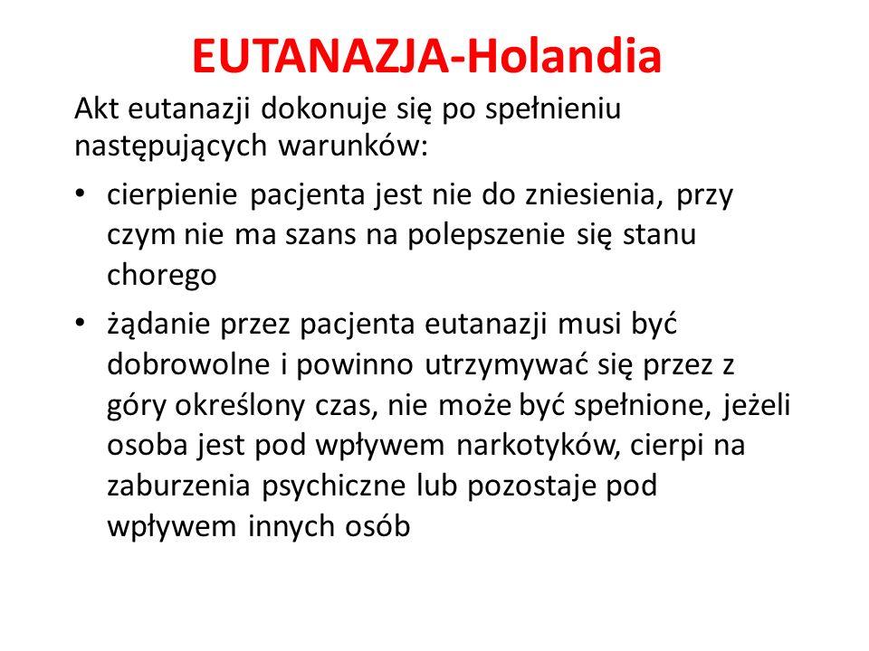 EUTANAZJA-Holandia Akt eutanazji dokonuje się po spełnieniu następujących warunków: