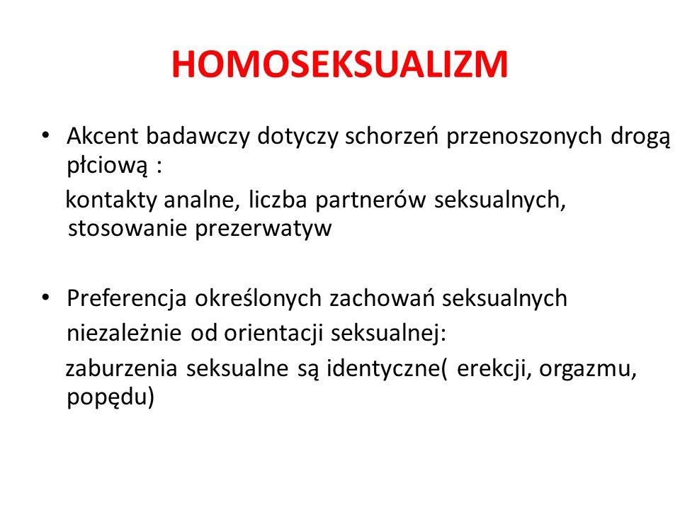 HOMOSEKSUALIZM Akcent badawczy dotyczy schorzeń przenoszonych drogą płciową :