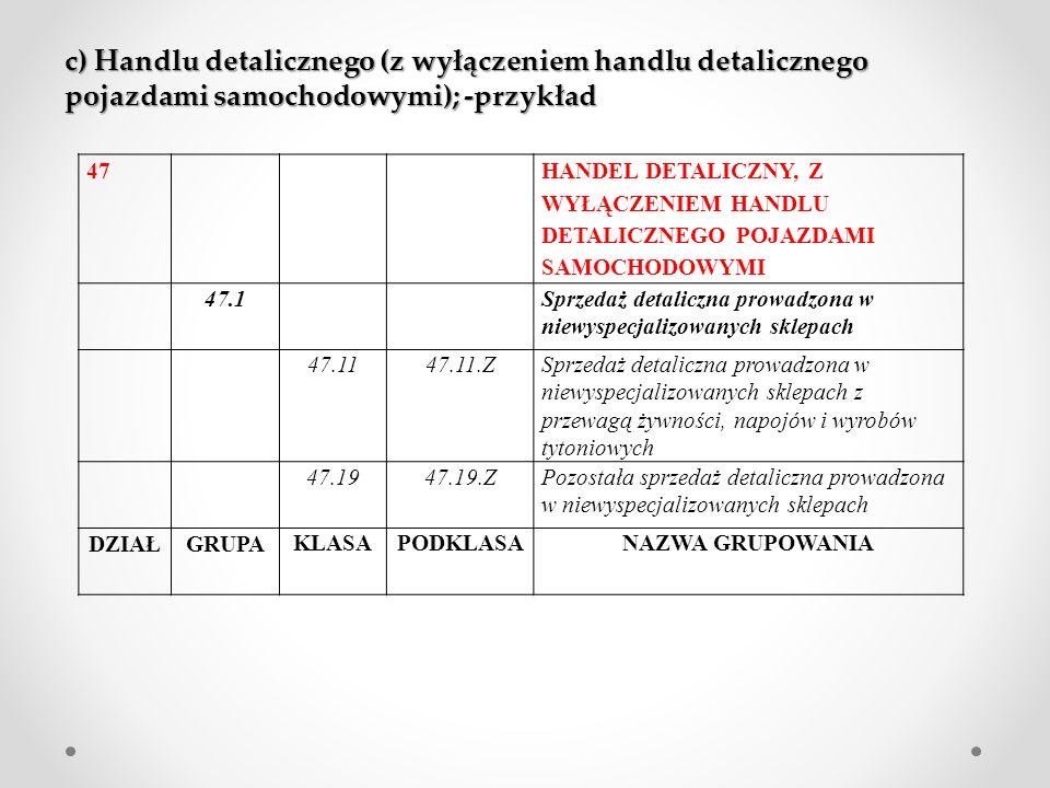 c) Handlu detalicznego (z wyłączeniem handlu detalicznego pojazdami samochodowymi); -przykład