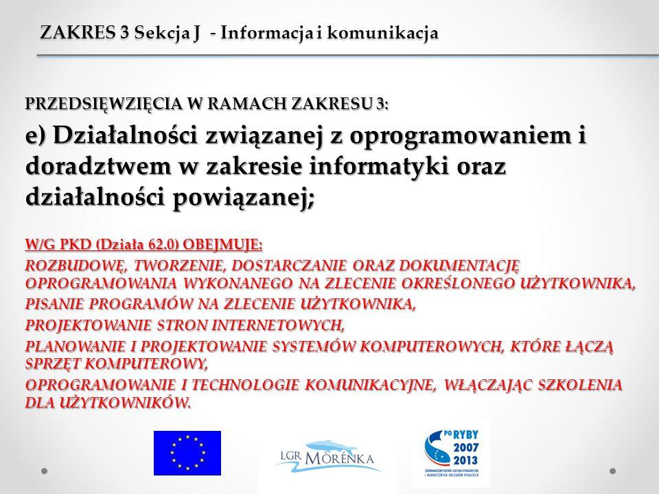 ZAKRES 3 Sekcja J - Informacja i komunikacja