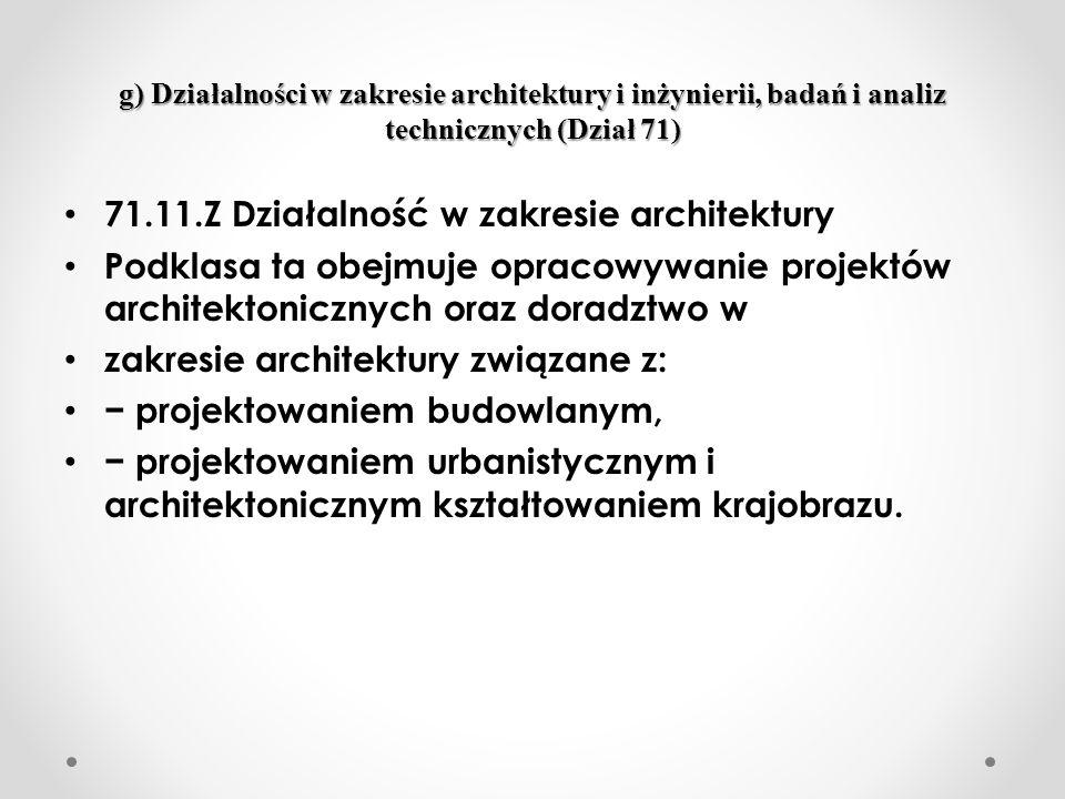 71.11.Z Działalność w zakresie architektury