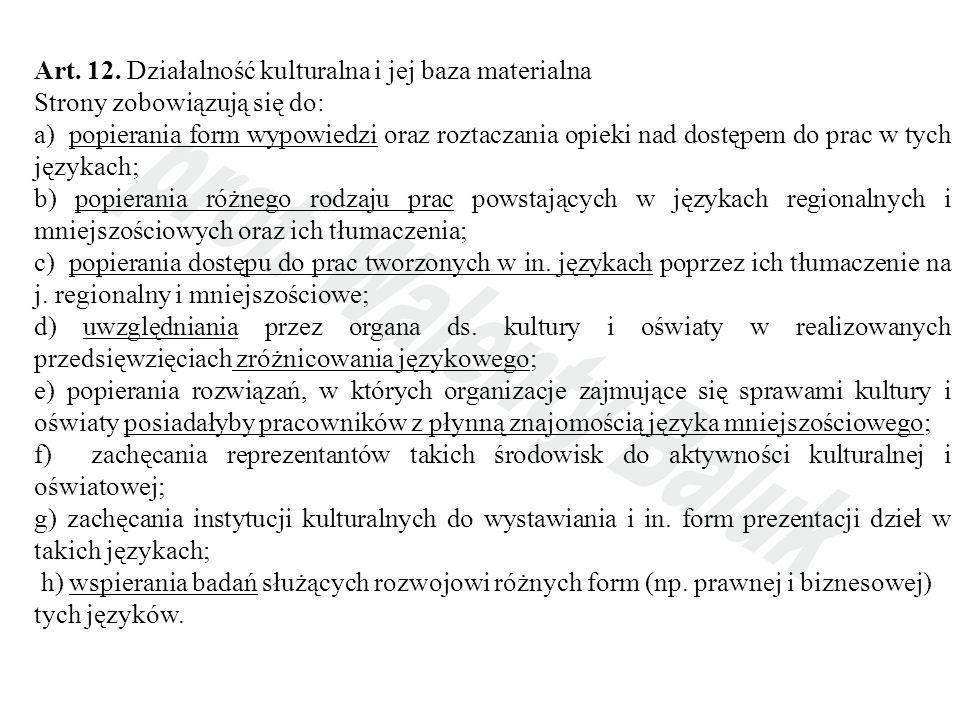 Art. 12. Działalność kulturalna i jej baza materialna