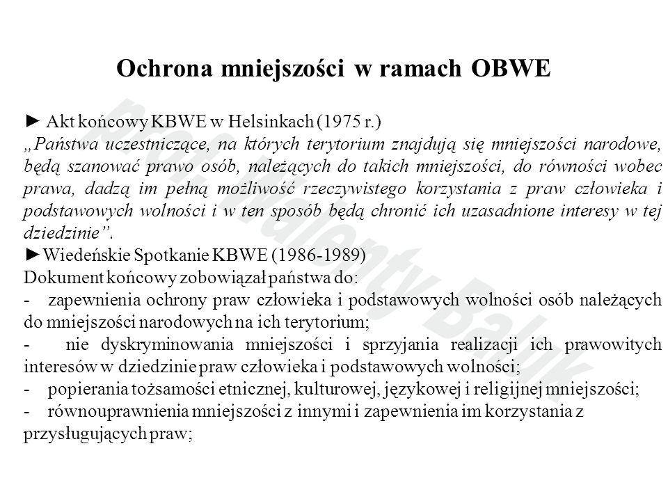 Ochrona mniejszości w ramach OBWE