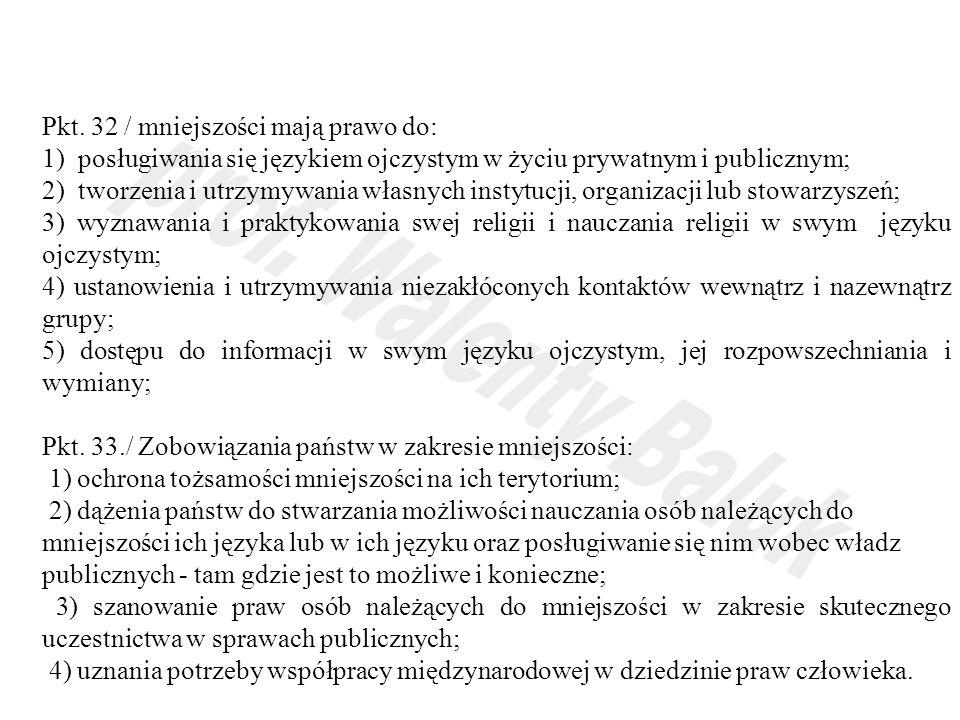 Pkt. 32 / mniejszości mają prawo do: