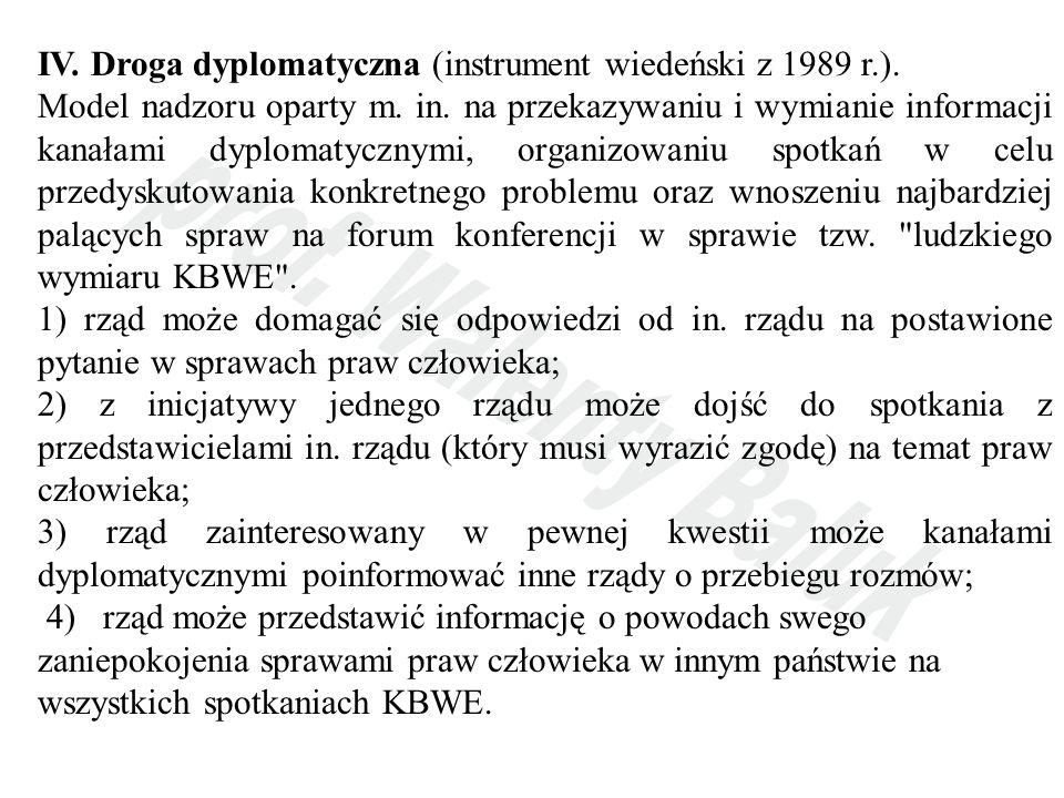 IV. Droga dyplomatyczna (instrument wiedeński z 1989 r.).