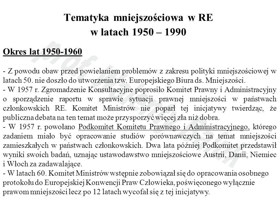 Tematyka mniejszościowa w RE w latach 1950 – 1990