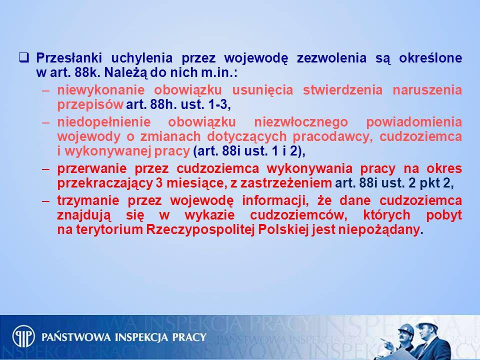 Przesłanki uchylenia przez wojewodę zezwolenia są określone w art. 88k