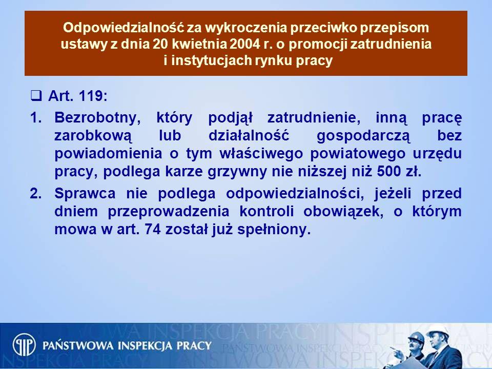 Odpowiedzialność za wykroczenia przeciwko przepisom ustawy z dnia 20 kwietnia 2004 r. o promocji zatrudnienia i instytucjach rynku pracy