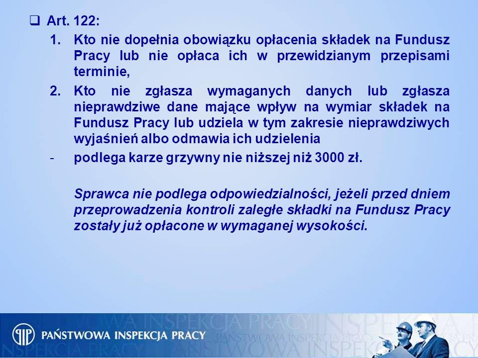 Art. 122: Kto nie dopełnia obowiązku opłacenia składek na Fundusz Pracy lub nie opłaca ich w przewidzianym przepisami terminie,
