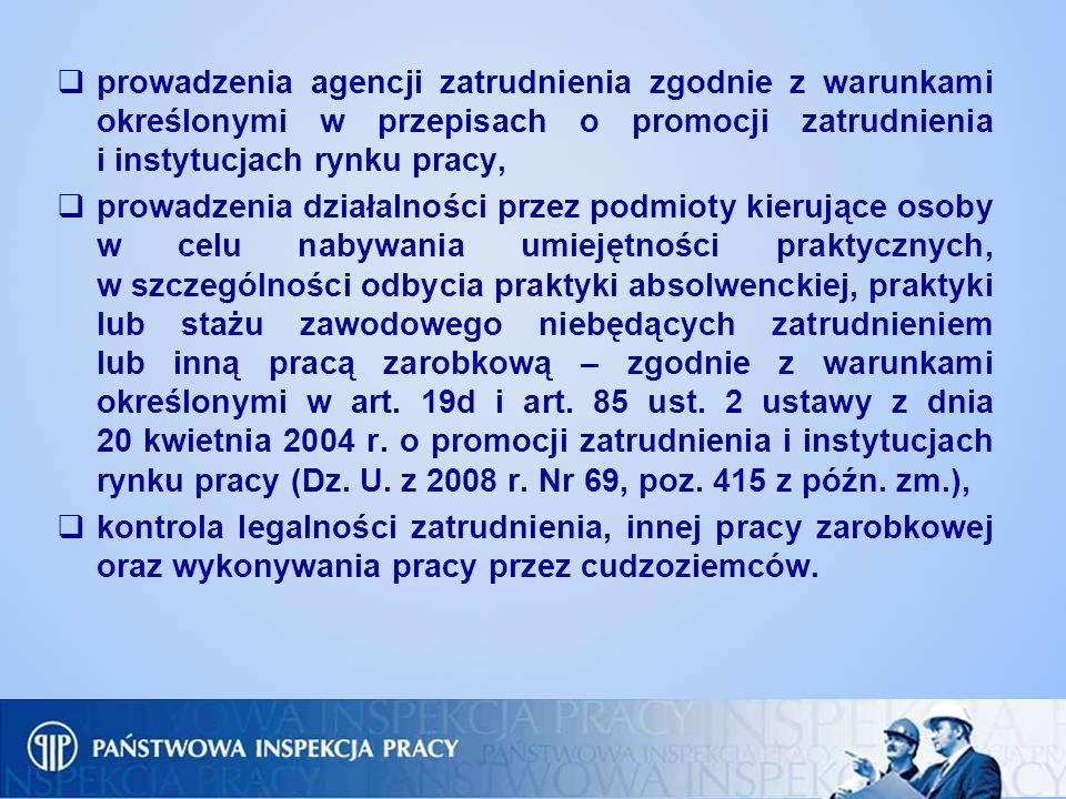 prowadzenia agencji zatrudnienia zgodnie z warunkami określonymi w przepisach o promocji zatrudnienia i instytucjach rynku pracy,