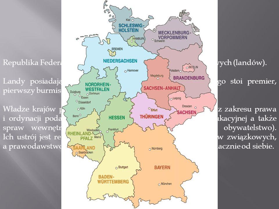 Landy Republika Federalna Niemiec składa się z 16 krajów związkowych (landów).