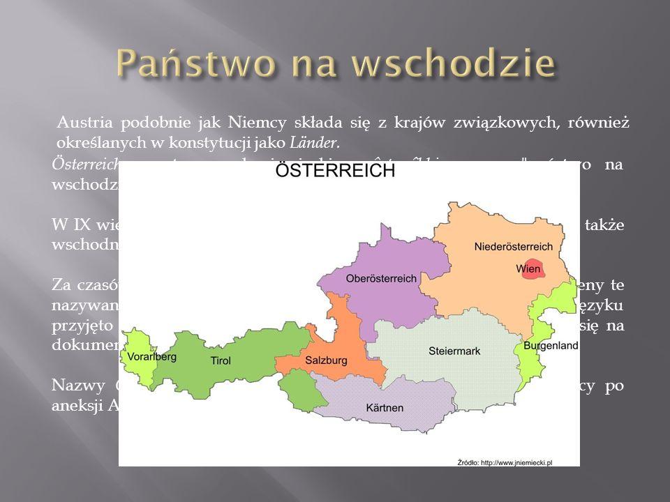 Państwo na wschodzie Austria podobnie jak Niemcy składa się z krajów związkowych, również określanych w konstytucji jako Länder.